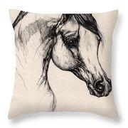 Arabian Horse Drawing 24 Throw Pillow