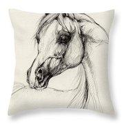 Arabian Horse Drawing 27 Throw Pillow