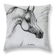 Arabian Horse Drawing 28 Throw Pillow