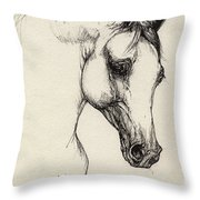 Arabian Horse Drawing 32 Throw Pillow
