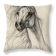 Arabian Horse Drawing 37 Throw Pillow