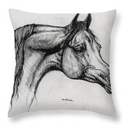 Arabian Horse Drawing 40 Throw Pillow