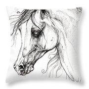 Arabian Horse Drawing 49 Throw Pillow