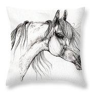 Arabian Horse Drawing 51 Throw Pillow