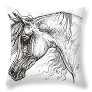 Arabian Horse Drawing 53 Throw Pillow