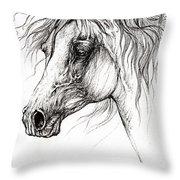 Arabian Horse Drawing 54 Throw Pillow