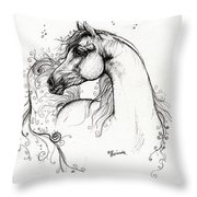 Arabian Horse Drawing 8 Throw Pillow by Angel  Tarantella