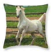 Arabian Horse Portrait In Pastels Throw Pillow