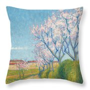 Arbes En Fleurs A L'entree De Cailhavel Throw Pillow