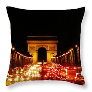 Arc De Triomphe At Night Throw Pillow