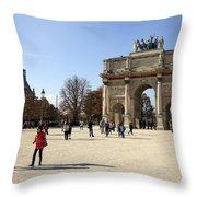 Arc De Triomphe Du Carrousel In Paris France  Throw Pillow