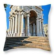 arc of triumph in Piazza Della Vittoria - Genova Throw Pillow