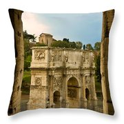 Arch Of Constantine Through The Colosseum Throw Pillow