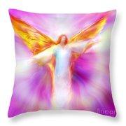 Archangel Sandalphon In Flight Throw Pillow