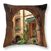 Arched Doorway In Kayserberg Throw Pillow