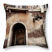 Arched Passage In Old Rustic Venetian House Throw Pillow