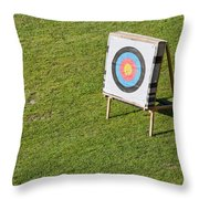 Archery Round Target On A Stand Throw Pillow