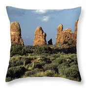 Arches National Park Sunrise Rock Formations  Throw Pillow