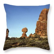 Arches National Park With Balanced Rock And Rock Formations Throw Pillow
