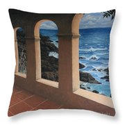 Arches Over The Ocean Throw Pillow