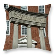 Architectural Columns With Equal Justice Throw Pillow