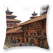Architecture Of Patan Durbar Square In Lalitpur-nepal Throw Pillow