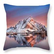 Arctic Dawn Over Reine Village Throw Pillow