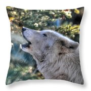 Arctic Wolf Song Throw Pillow by Skye Ryan-Evans