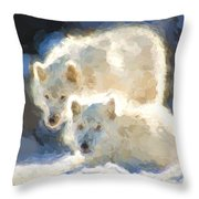 Arctic Wolves - Painterly Throw Pillow
