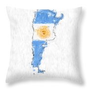 Argentina Painted Flag Map Throw Pillow