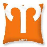 Aries Zodiac Sign White On Orange Throw Pillow