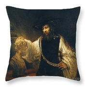 Aristotle With Bust Of Homer Throw Pillow