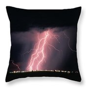 Arizona  Lightning Over City Lights Throw Pillow