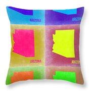 Arizona Pop Art Map 4 Throw Pillow