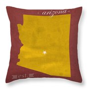 Arizona State University Sun Devils Glendale College Town State Map Poster Series No 012 Throw Pillow