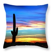 Arizona Sunset Saguaro National Park Throw Pillow