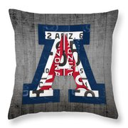 Arizona Wildcats College Sports Team Retro Vintage Recycled License Plate Art Throw Pillow