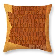 Arizona Word Art State Map On Canvas Throw Pillow