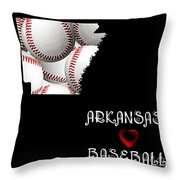 Arkansas Loves Baseball Throw Pillow by Andee Design