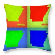 Arkansas Pop Art Map 1 Throw Pillow by Naxart Studio