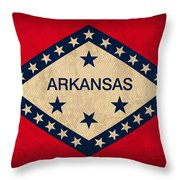 Arkansas State Flag Art On Worn Canvas Throw Pillow by Design Turnpike
