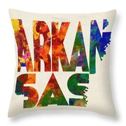 Arkansas Typographic Watercolor Map Throw Pillow