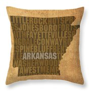 Arkansas Word Art State Map On Canvas Throw Pillow