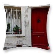 Arles House With Red Door Dsc01806  Throw Pillow