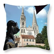 Armor And Chartres Cathedral Throw Pillow