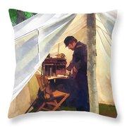 Army - Civil War Officer's Tent Throw Pillow