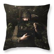 Army Soldier With Security Screen Saver Throw Pillow