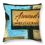 Arnauds New Orleans_oil Digital Art Throw Pillow