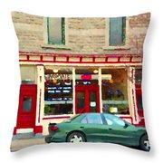 Aromate Resto Cafe Rue St Jacques St Henri  Montreal Urban Food City Scenes Carole Spandau Throw Pillow