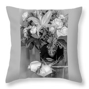 Arrangement In Black And White  Throw Pillow